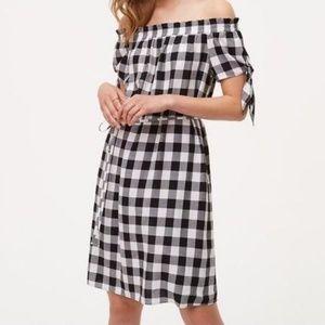 LOFT Black Gingham Tie Off the Shoulder Dress Smal